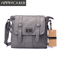 Annmouler Brand Women Flap Bag Pu Leather Casual Shoulder Messenger Bag High Quality Multi Pocket Crossbody