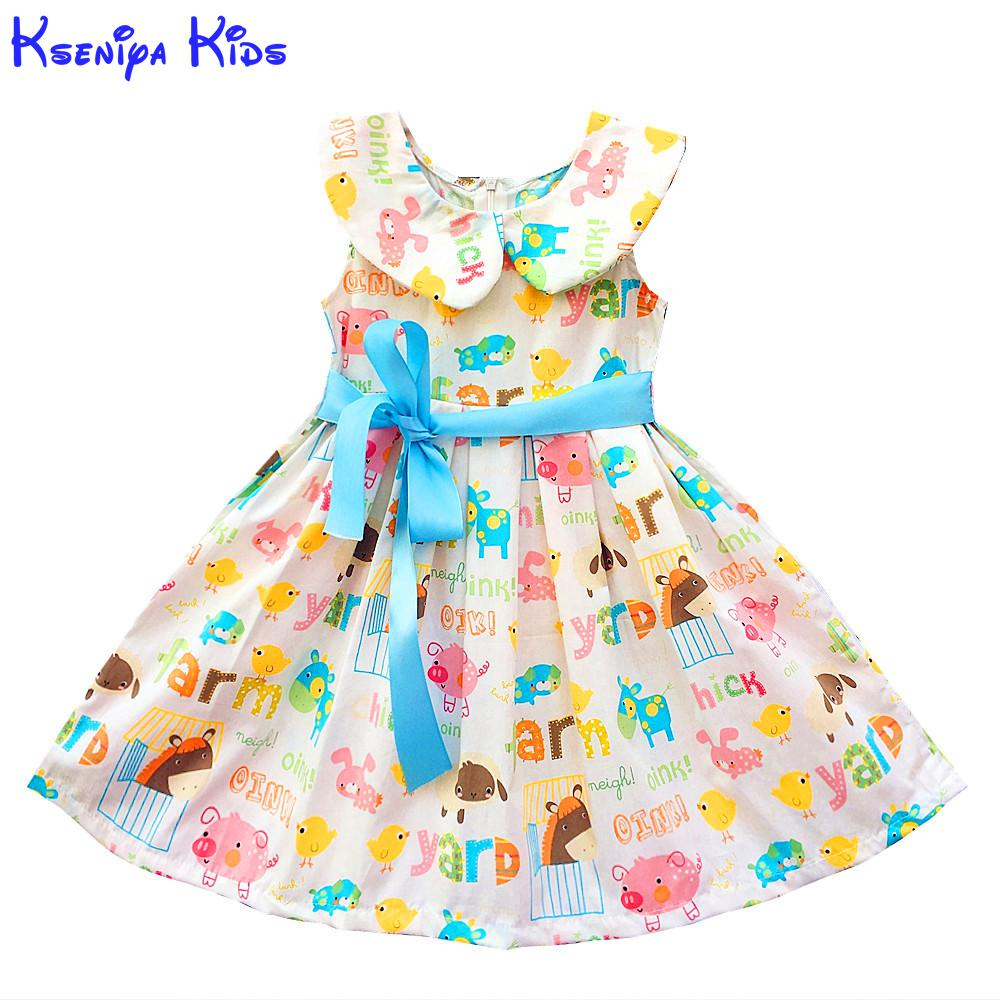 Kseniya Children New Spring Cotton For Ladies 2-10 Years Free Cute Beige Sleeveless Princess Gown Trend Lady Summer season Gown 2017