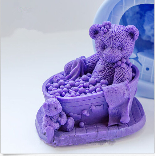 Teddy-in-the-Bath-3d-Soap-Mold-Silicone-Candle-Mold-Diy-Craft-Bear-Mold-Bakeware-Handmade