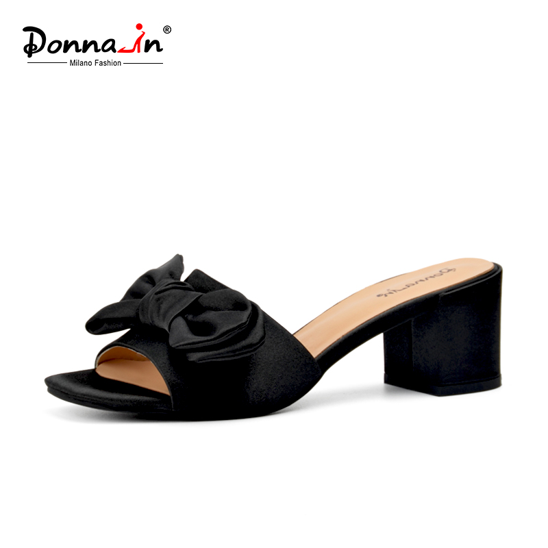 Donna-in Summer 2018 New Beach Flip Flops Women Thick High Heels Slippers Black Pink Silk Butterfly-knot Fashion Ladies Shoes 1159 fashion ice silk lace sleepshirts for women deep pink black free size
