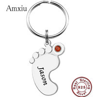 Amxiu Personalized Foot Jewelry 925 Sterling Silver Keychains Engrave Baby Name Key Chains For Mother Women Bag Keys Accessories