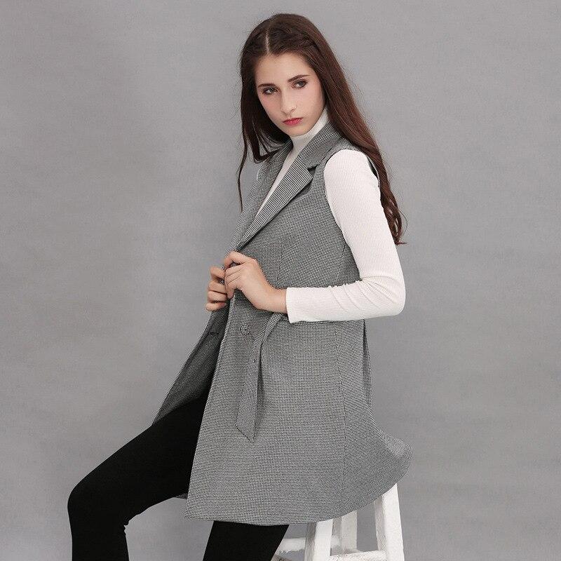 2018 mujeres chaleco chaqueta Abrigos sin mangas Plaid