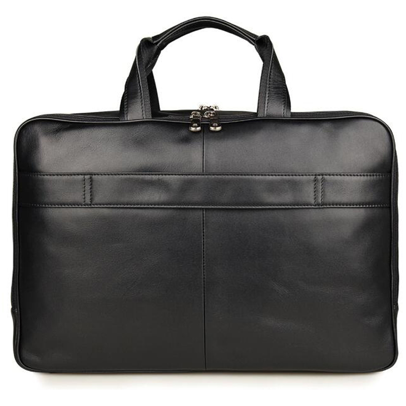 "ANAPH Brand Top Quality Real Leather Business Briefcases For Men 17"" Laptop Bag Carry On Overnight Bag Large Capacity Black"