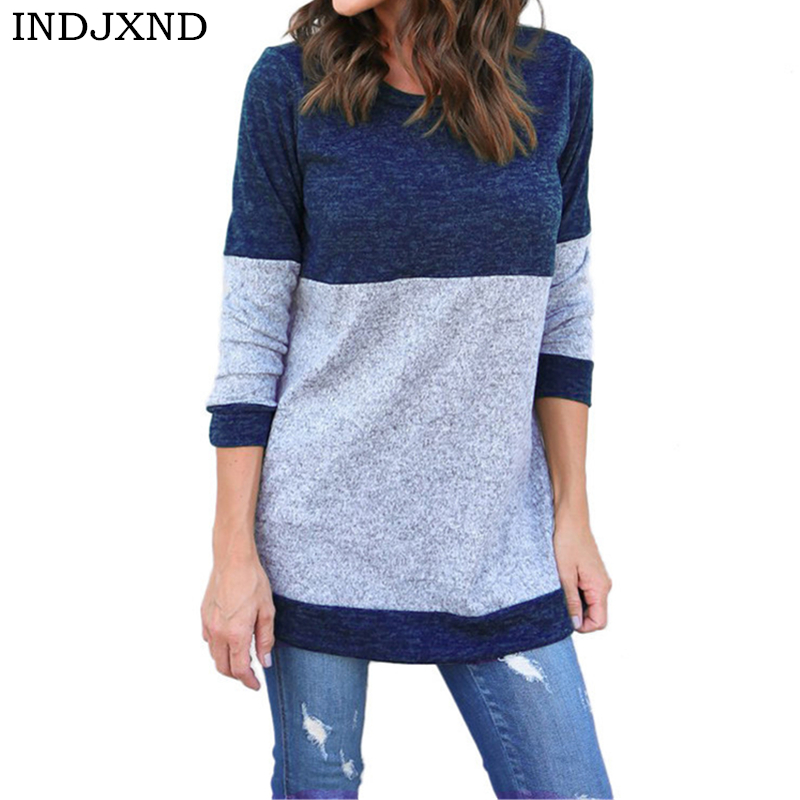 INDJXND Otoño Invierno suéter mujeres 2018 Knit alto elástico Jumper mujeres suéteres y suéteres mujer costura Tops Pull Femme
