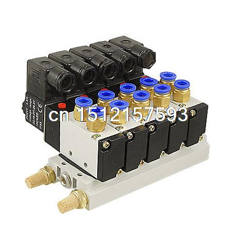 DC 12V Single Head 2 Position 5 Way 5 Pneumatic Solenoid Valve w Base