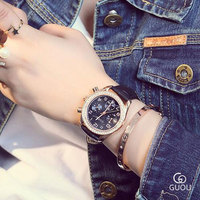 GUOU Luxury Ladies Wrist Watch Fashion Quartz Watches Women Rhinestone Leather Casual Dress Women S Watch