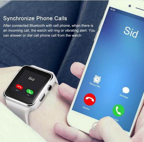 New X6 Smart Watch with Camera Touch Screen Support SIM TF Card Bluetooth men Smartwatch for iPhone Xiaomi Android Phone