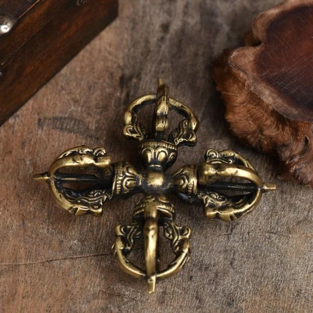 Tranic fournitures bouddhistes croix Vajra Pestle   Pestle en cuivre pur fait à la main, artisanat Antique exquis Vajrayana