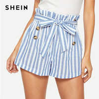 SHEIN Blue or Green Paper-bag Pleated Waist Buttoned Belt Knot Striped Shorts Women Summer Highstreet Preppy Casual Mini Shorts
