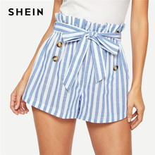 SHEIN Blauw of Groen Papier-tas Geplooide Taille Dichtgeknoopt Riem Knoop Gestreepte Shorts Vrouwen Zomer Highstreet Preppy Casual Mini shorts(China)