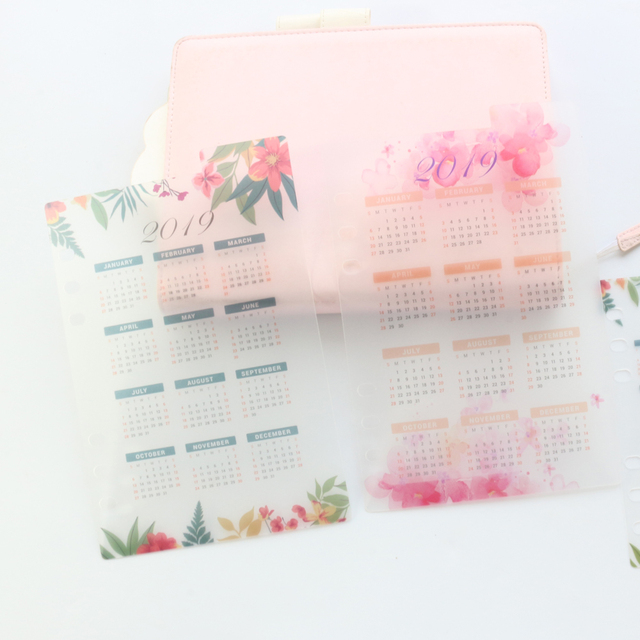 Domikee 2019 year calendar cute school 6 holes PP index divider for