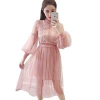 f27f55d9d6f734 2018 New Spring Summer Lace Voile Patchwork Boho Dress Women Elegant Slim  Lantern Sleeve Mesh Party