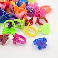 Bagues en acrylique pour enfants, 100 pièces, bijoux, cadeau pour enfants, Style mixte, couleur mixte, F60