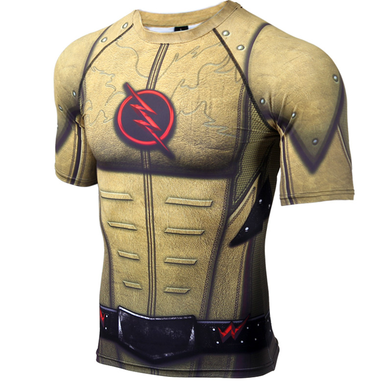 Reverse flash short sleeve compression t shirt comicstoy for Compressed promotional t shirts