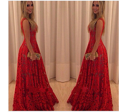 Sleeveless Bright Lace Flowers Red Dress  Women Dress Lace Long Longuette Elegant Party Dresses Formal Vestidos