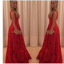 Sleeveless Bright Lace Flowers Red Dress Women Dress Lace Lo