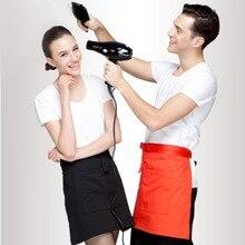 40*60cm Black Short WaistPocket APRON for Bar Cafe Pub Waiter Waitress Barista Uniform New Red/Black