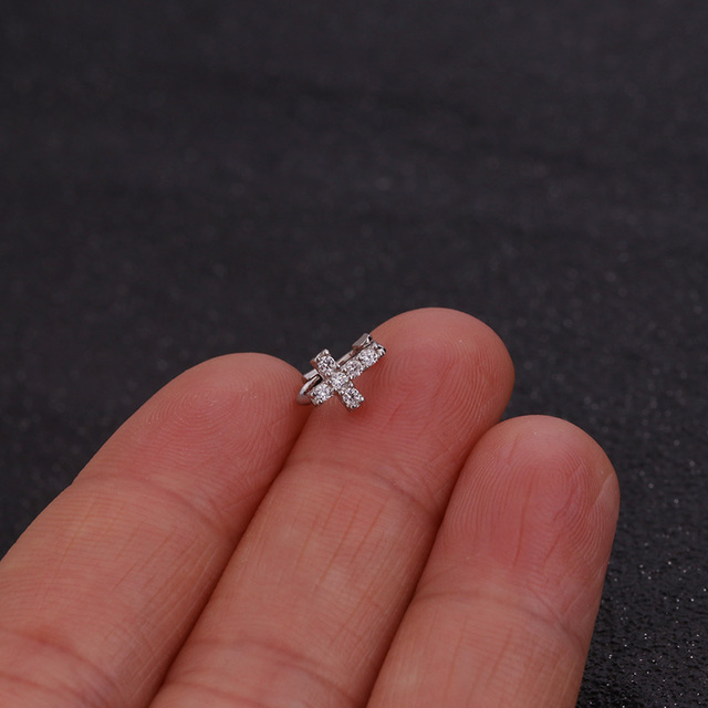 Feelgood New Tiny Cartilage Hoop With Cubic Zirconia Flower Cross Heart Bow Small Tragus Hoop Earring 4