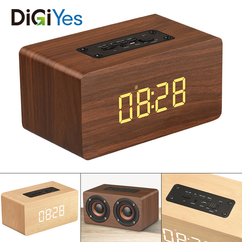 52MM Double Horn Wooden 4.2 Bluetooth Alarm Clock Speaker with Time Display and AUX Wired Connection for Smartphone / PC