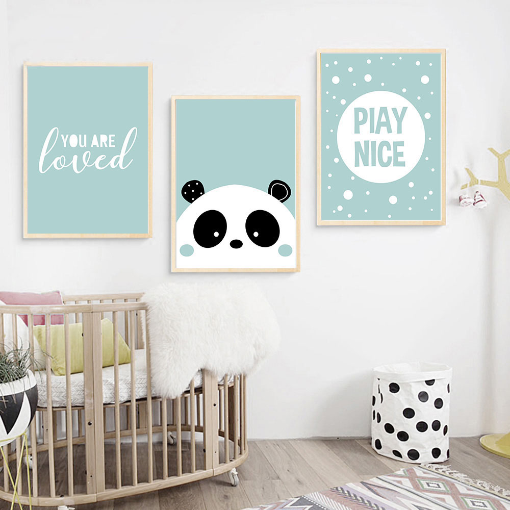 Kartun Panda Wall Art Kanvas Lukisan Nursery Poster Dan Cetakan