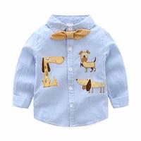 Funfeliz Boys Shirts Character Dog Cotton Long Sleeve Shirt For Boy Spring Autumn Red Blue Boys