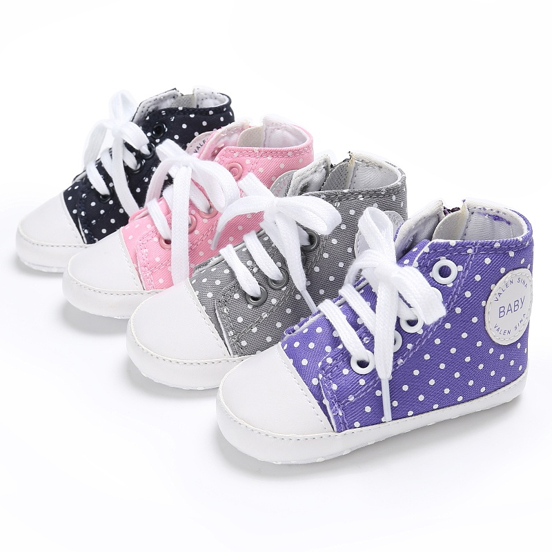 Fashion Cute Canvas Dot Printed Shoes First Walkers Baby Boy Girls Shoes Non-slip Soft Bottom Toddler Zip Shoes High Helpless