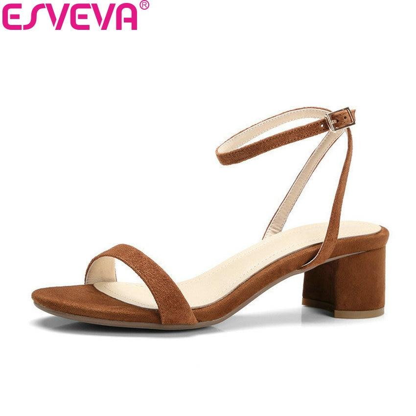 ESVEVA 2018 Western Summer Kid Suede Shoes Apricot Square Med Heel Women Pumps Buckle Strap Peep Toe Leisure Shoes Size 34 40