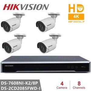 Hikvision kits de câmera de segurança incorporado plug & play h.265 nvr 8ch 8poe & 4 pçs 8mp câmera ip DS-2CD2085FWD-I wdr poe bala