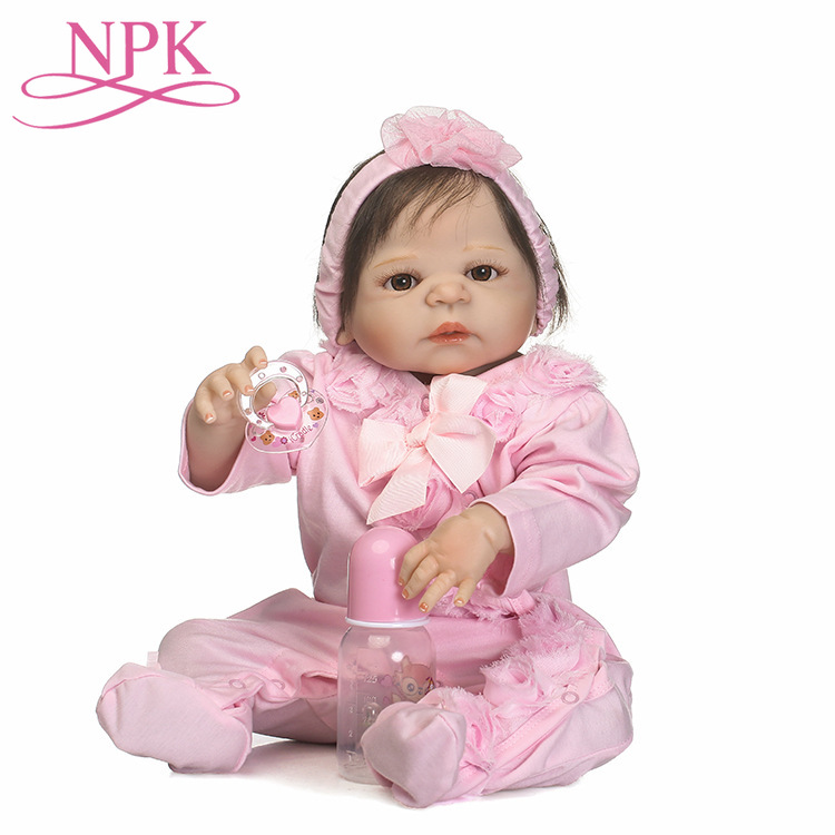 56CM Full Silicone Reborn Baby Doll Toys <font><b>24inch</b></font> Vinyl Princess Toddler Girl Babies Dolls High Quality Christmas Gift Dolls image