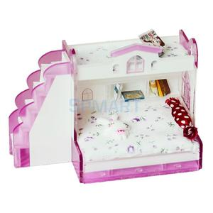 Image 4 - 1/12 Scale Dollhouse Miniature Double Bunk Bed Model for Dolls House Bedroom Furniture Life Scenes Decoration Room Accessory #2