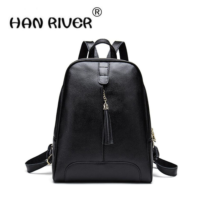 HANRIVER Summer spring new leather double shouldered womens bag tassel Korean version of the top layer of cow leather backpack HANRIVER Summer spring new leather double shouldered womens bag tassel Korean version of the top layer of cow leather backpack