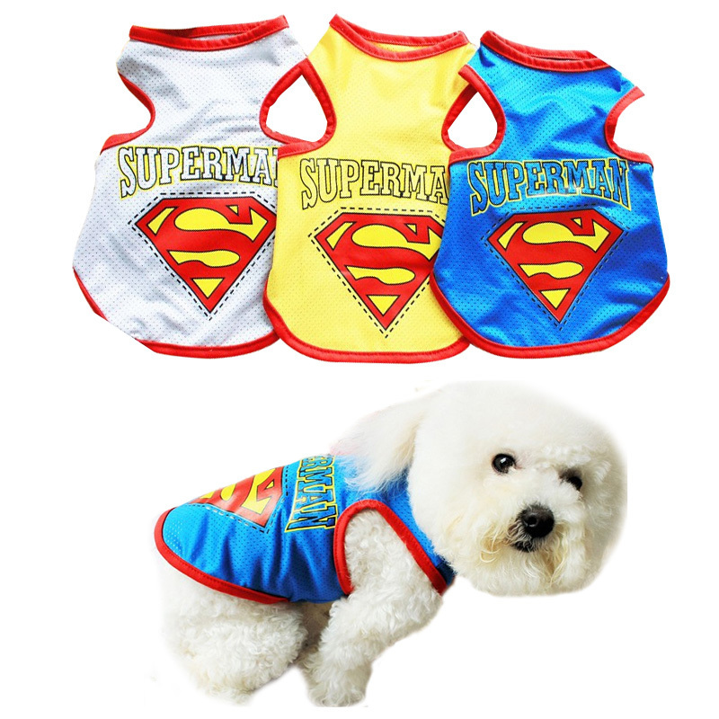 Directe Verkoop Groothandel Hond Kleding Superman Pet Mesh Vest Hond Kleding Zomer Schattige Kleine Puppy Hond Kat T-shirt Vest Levert