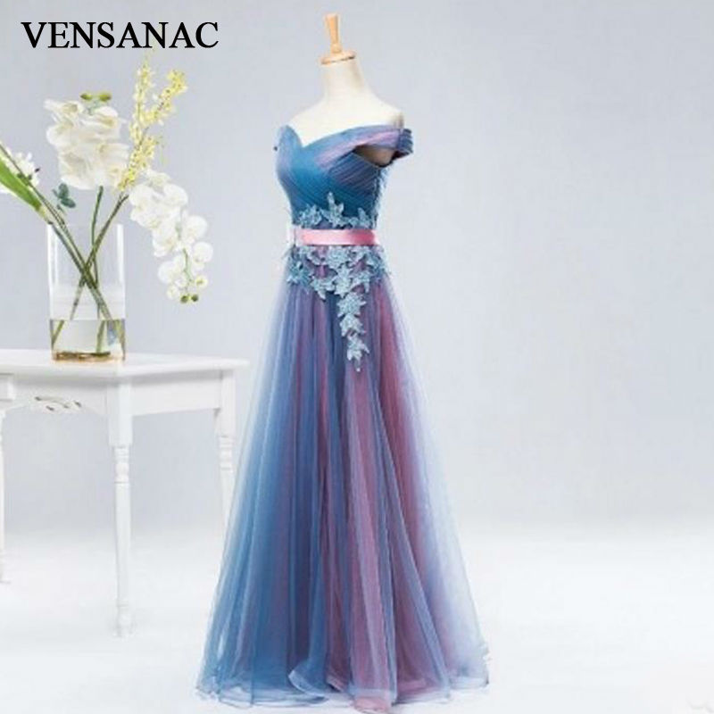 VENSANAC New A Line 2018 Embroidery V Neck Long   Evening     Dresses   Short Sleeve Elegant Draped Sash Party Prom Gowns