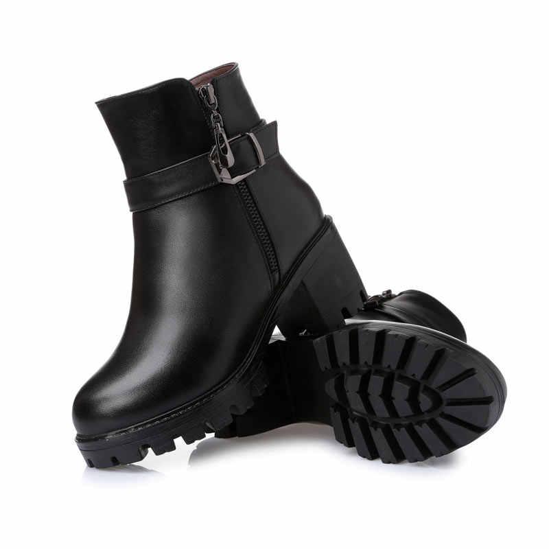 MVVJKE Nuovo 2018 Inverno Tacchi Alti Alla Caviglia Donne Stivali Scarpe di Cristallo Femminile Genuino Scarpe di Cuoio Autunno Stivali Piattaforma E047