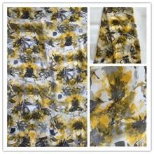 New Summer Print 100%Silk Chiffon Fabric For Women Dress 140cm Wide 6Momme Thin Georgette Fashion cloth DIY Sewing DSF23
