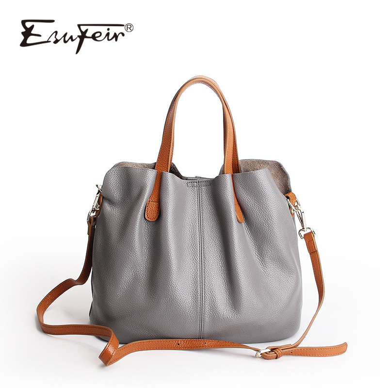 цена на ESUFEIR 100% Genuine Leather Women Handbag Fashion Shoulder Bag Famous Brand Luxury Women Bags Designer Large Capacity Tote Bag