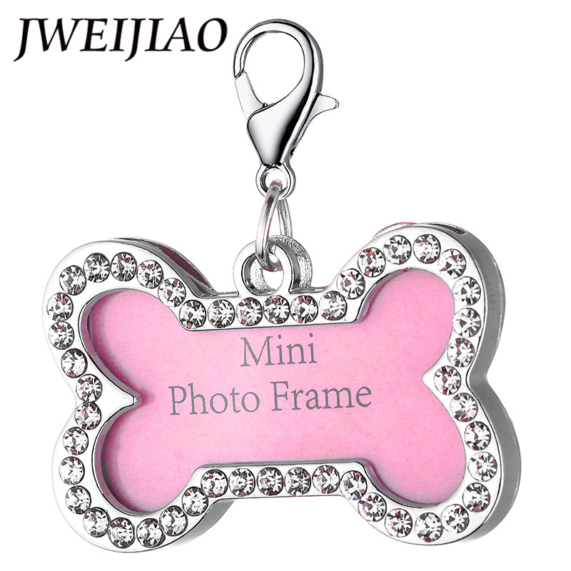 JWEIJIAO 7 Style Mini Photo Frame Pet Dog Cat Tags Keychain Personalized Pet Tag Animal Name Photo Identity ID Card NA04