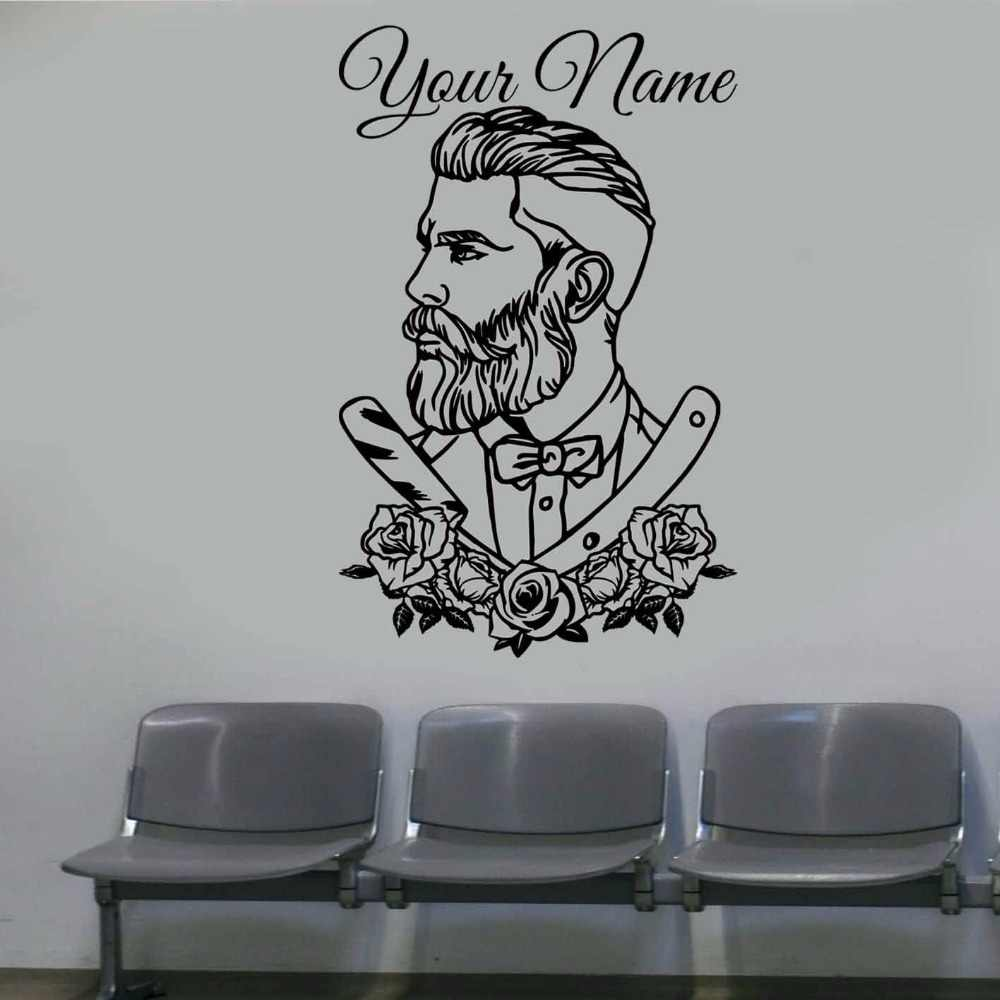 Barber shop wall decal tattoo hipster personalized name wall sticker man salon decals barber shop removable