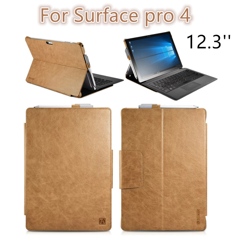 For Surface pro4 12 3 inch Luxury untra slim PU Leather Flip Cover case for Surface