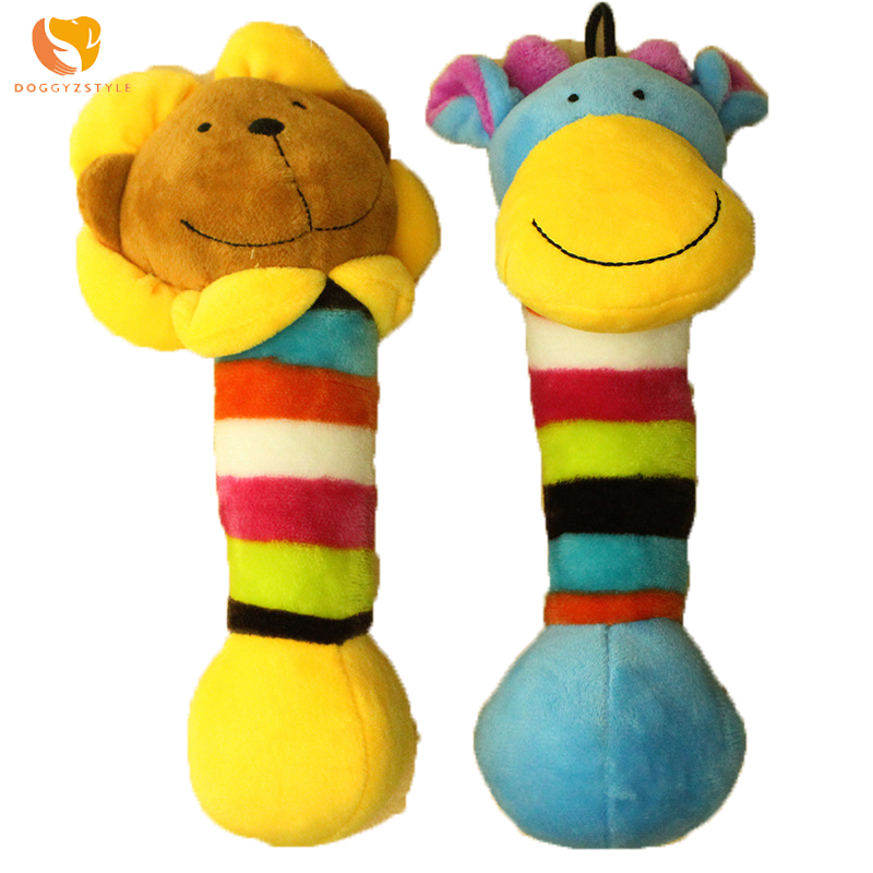2017 New Pet Puppy Chew Squeaker Squeaky Plush Sound Colorful Animals Dog Toys For Pet Bite Play Training DOGGYZSTYLE