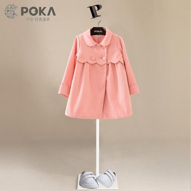 b622ef179 POKA Nueva Moda Otoño Abrigo Largo de Lana para Niñas de Color Rosa Princesa  Capa de