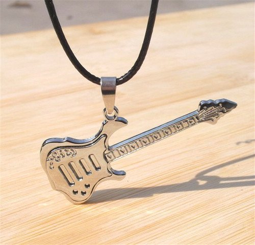 Min.order is $15 Fashion Leather Cord Titanium Stainless Steel Guitar Pendant Necklace two color Men women unisex free shipping