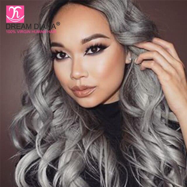 8a Ombre Grey Hair Weave Brazilian Virgin Hair Body Wave Silver Gray