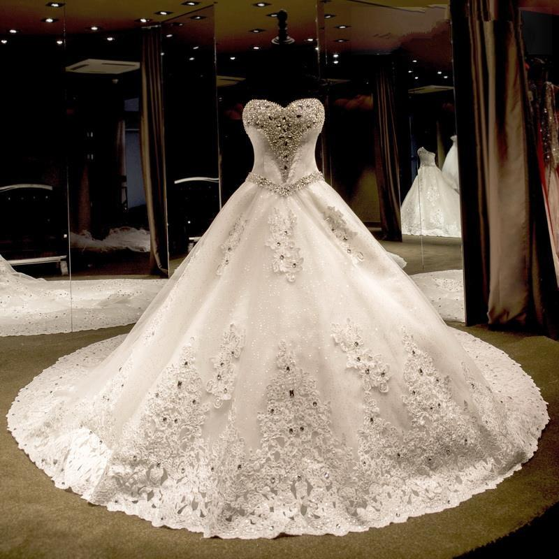 Luxury wedding dresses 2016 sweetheart beaded pearls for Wedding dresses with crystals beading