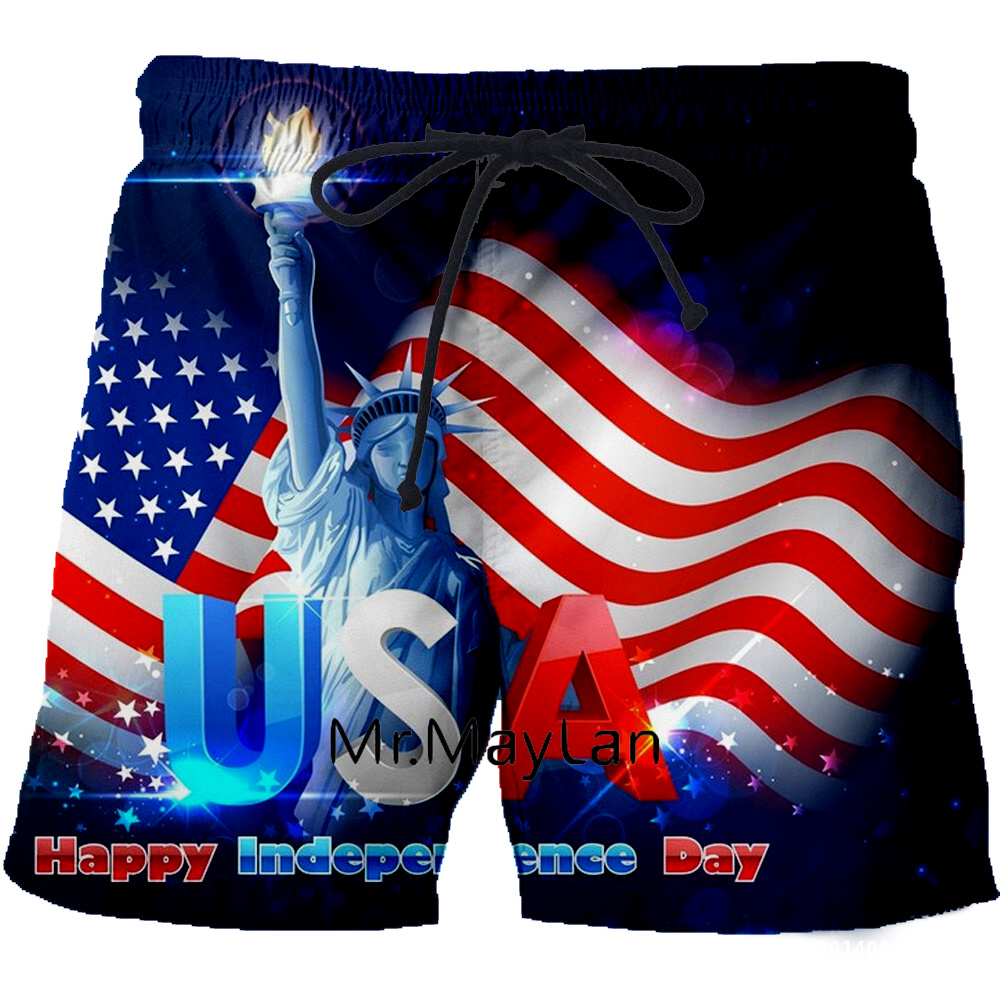 2019 Summer Men Board Shorts 3D Print American Flag USA Statue Of Liberty Fashion Men's Bermuda Beach Trousers 6XL 7XL Quick Dry