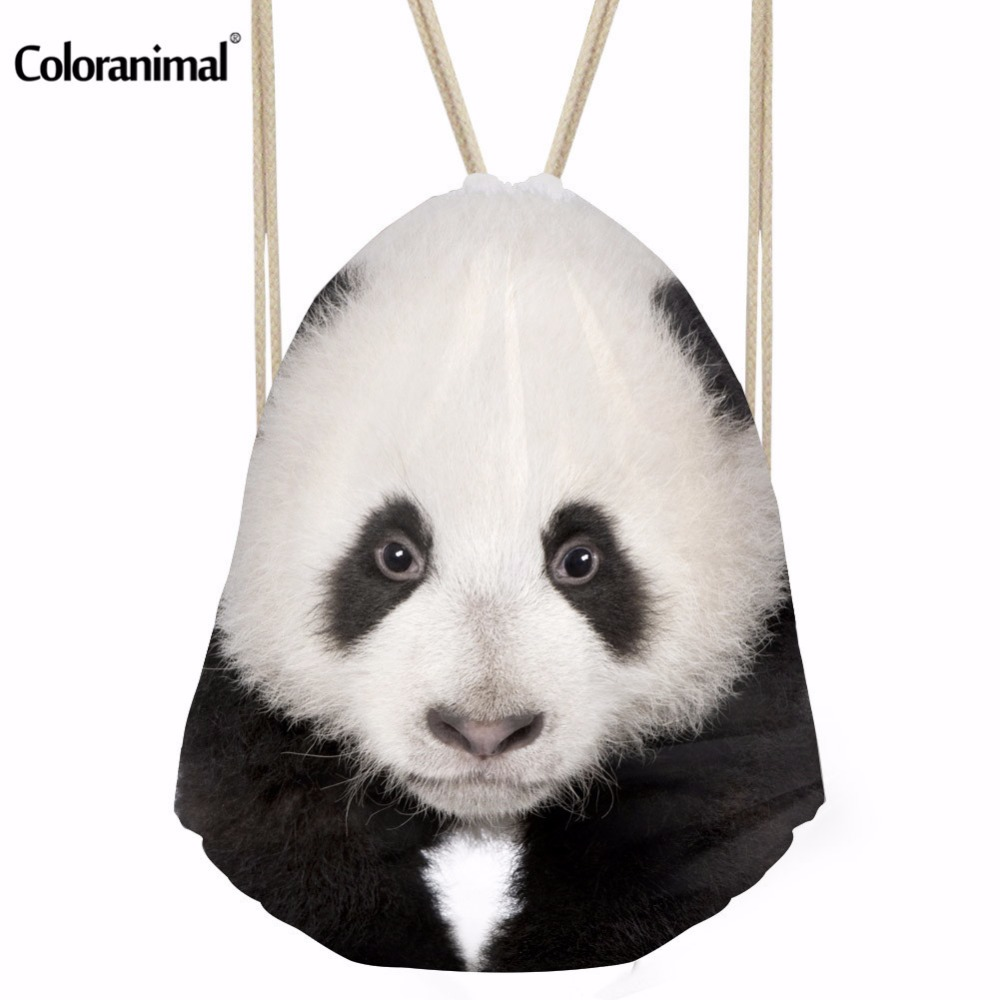 Coloranimal Men's Panda Print Drawstring Bag Women Boys Male Tote String Shoulder Backpacks Small Fabric Nylon Cinch Sack Pack