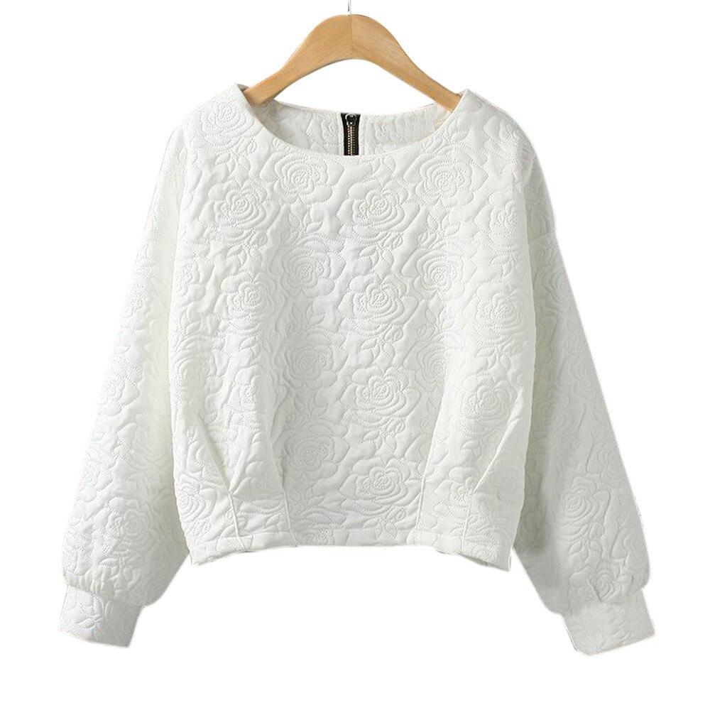 Female Pullover New 2017 Women Black White Women Hoodies Sweatshirt 2017 Autumn Zipper Long Sleeve O Neck Loose Hoodies tops