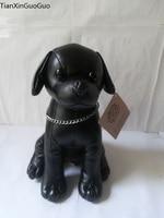 large 30X21 cm lovely black squatting chihuahua plush toy PU leather dog soft toy Christmas gift w0314