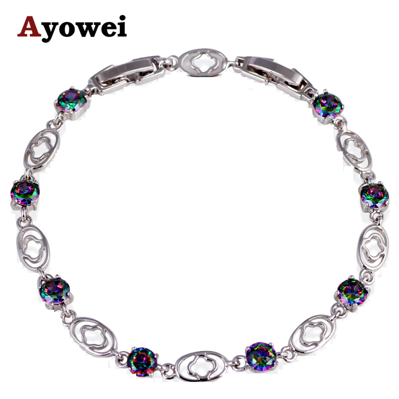 Office Style Pulseira for Ladies Silver Filled Rainbow  Charm Bracelets Wholesale & Retail Fashion Jewelry TB905A