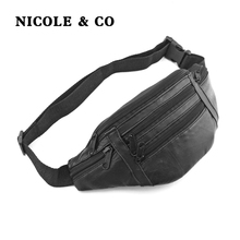 NICOLE & COUnisex Genuine Leather Waist Packs Fanny Pack Belt Bag Phone Pouch Bags Travel Male Small Black